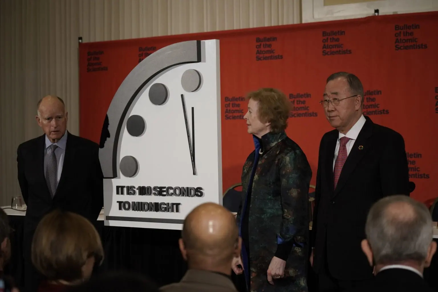 Gov. Jerry Brown, former President of Ireland Mary Robinson, fomer UN Secretary General Ban-Ki Moon at 2020 Doomsday Clock unveiling