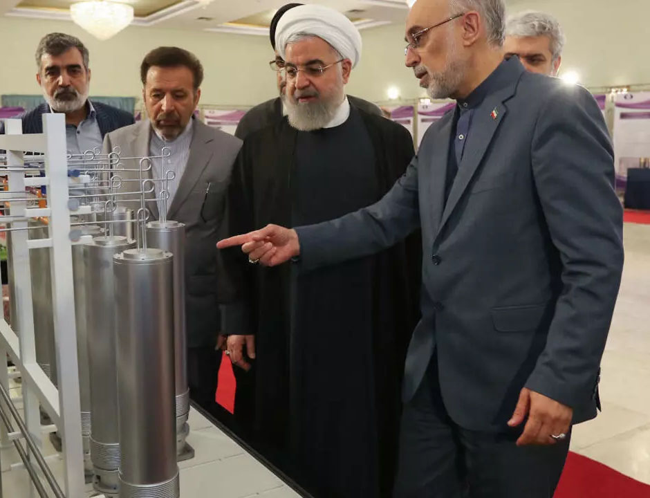 Iran President Rouhani inspecting uranium enrichment centrifuges