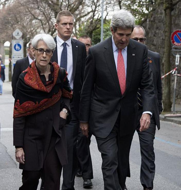 Wendy Sherman and Secretary Kerry at Iran Deal negotiations