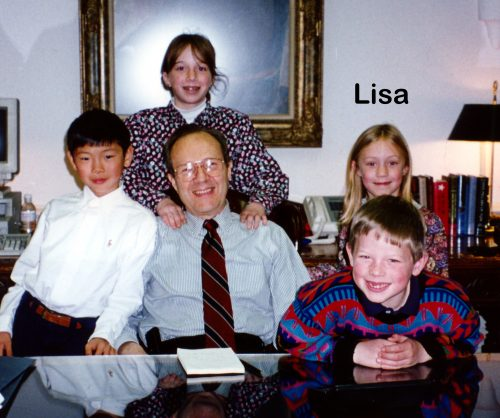 Lisa with her brother, cousins & grandfather in Secretary of Defense office